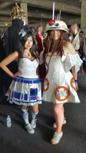 R2-D2 and BB-8 cosplayers